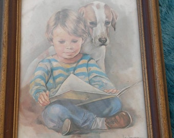 A Vintage Print By Artist Leo Jansen Of Little Boy And Dog Reading A Book