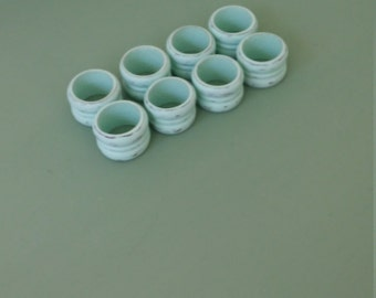 A Vintage 1960's Wood Set Of 8 Up-Cycled Mint Green Napkin Rings