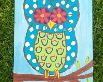 """Owl on canvas- 20""""x16"""""""