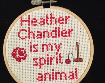 Heather Chandler is my spirit animal hoop framed cross stitch