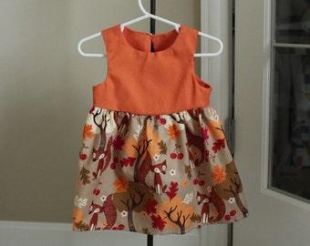 Fall Fox Baby Dress - Thanksgiving Dress- Fall Dress- Autumn Baby Girl Dress