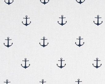Navy Anchors Baby Crib Fitted Sheet, nautical, anchors, baby, baby grand, fitted sheet, custom sheet