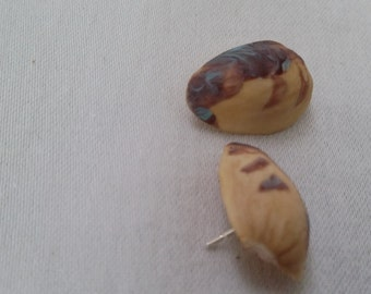 Tiger Stripe Pistachio Stud Earrings