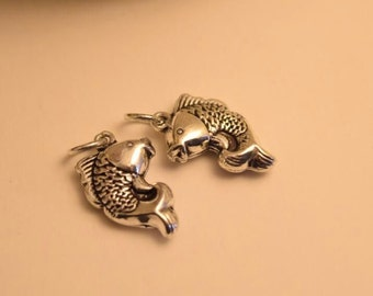 2 sterling silver fish charm sterling silver fish pendant 925 sterling silver bc21