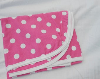 Cotton Receiving Blanket Pink and White Polka Dots