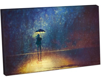 lonely woman under umbrella lights in the dark Print on canvas XT2649