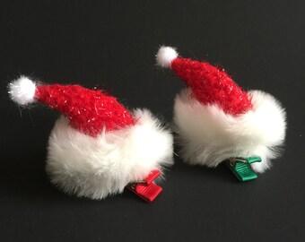 Christmas hat,Christmas cone,Mini Santa hat,Christmas hat hair clip,christmas mini hat,red hat,santa hat,santa hat hair clip,mini santa  hat