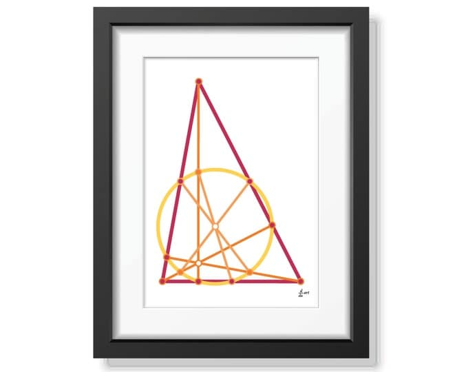 Nine point circle 09 [mathematical abstract art print, unframed] A4/A3 sizes