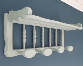 """Upcycled Coat Peg Shelf, Traditional French 'Porte Manteau', Wall Mounted Solid Wooden Peg Rack, Hallway or Cloakroom, 23"""" x 9.5"""" x 8"""""""