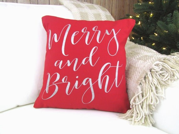Merry and bright red pillow