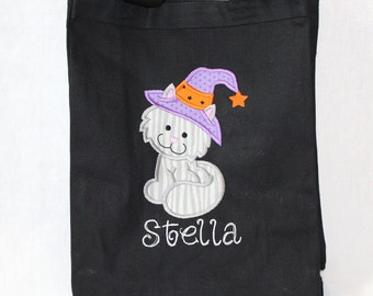Halloween Trick or Treat Bag, Halloween Tote Bag, Personalized Trick or Treat Bag - Canvas Bag with Appliqued with Kitty Witch