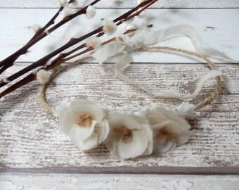 Newborn Photo Prop Silk flower Tie Back