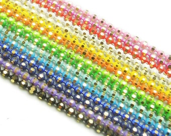20/50 Yards 1.2mm D/C Faceted Ball Chain Brass Based You Pick Color