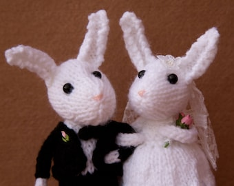 Bride and Groom white rabbits, hand knitted bunny rabbits, wedding rabbits, wedding cake topper, cheese tower topper, knitted rabbits