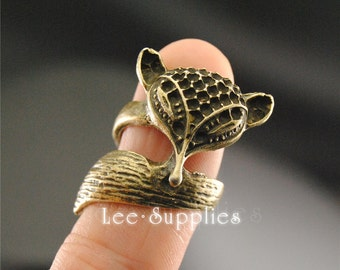5pcs Vintage Bronze Alloy Adjustable Fox Ring Charms A1368