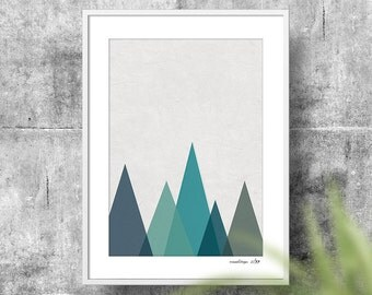 Mountains - Ocean, Geometric Mountains A2 (420mm x 594mm) Wall Art - Instant Download Art