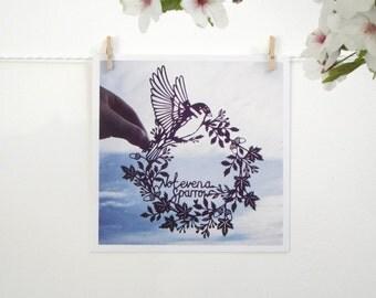 Sparrow Papercut Square Flat Notecard / Mini Print