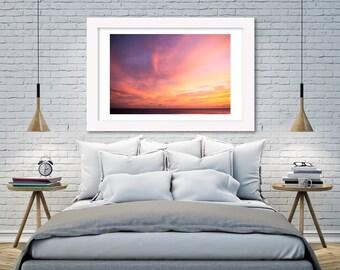 Aloha Framed Sunset Print, Aloha motivational print, Aloha Framed wall decor, Hawaii Golden pastel Sunset art Wall Decor, Sunset cloud art