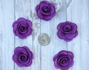 Purple burlap flowers - Set of 5 - Crafting roses - Craft supply flowers - 1 3/4 inch - DIY headband - Crafting supplies - Burlap roses