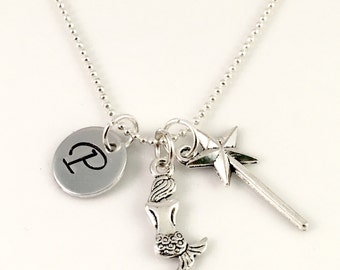 Personalized mermaid wish Necklace, Initial necklace, personalized mermaid and wand jewelry, magical under the sea necklace