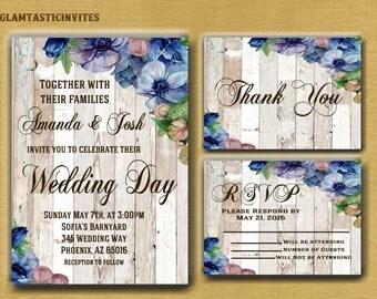 Floral Wedding Invitation, Rustic Wedding Invitation, Boho Wedding Invitation, Rustic Floral Invitation, Invitation Set, Wood, Vintage, Card