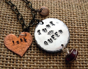 Junk Queen Hand Stamped Silver/Copper Necklace |Rustic|BoHo|Jewelry