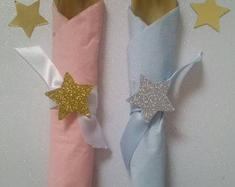 12CT Twinkle Twinkle  Little Star cutlery set. Baby shower ,1st birthday pre-made cutlery sets,table decor.
