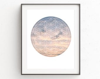 Sacred Geometry Print, Sacred Geometry Art, Flower of Life Picture, Clouds Photo, Clouds Artwork, Pink Artwork, Sacred Geometry, Yoga Prints