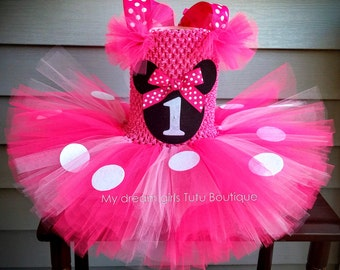 Minnie mouse tutu dress, Pink Minnie mouse dress, Minnie mouse birthday dress, Minnie mouse smash cake tutu, Minnie mouse baby girl dress