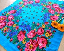 Blue scarf, flower shawl for women, ukrainian chale russe, babushka scarf, cheap, ladies women gift, pink cotton, napkins, russia, summer