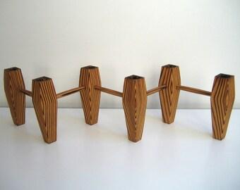 Candlesticks, candle holders, wood, Nils intern