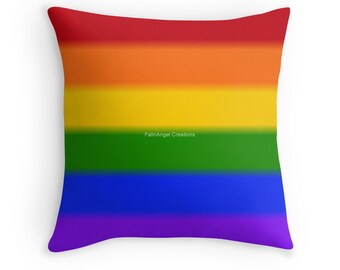 Gay Pride Flag Throw Pillow, Pillow Case & Insert, Multiple Sizes Available!