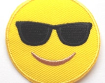 Emoji Patch Embroidered Iron on Badge Applique Motif DIY Customize Bag Hat T-Shirt Collectible Fun Cool Text Facebook Hot Sunglasses Face