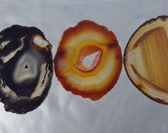 Natural Brazil Agate Slices Geode Polished Slab Quartz Lot (5) - N4