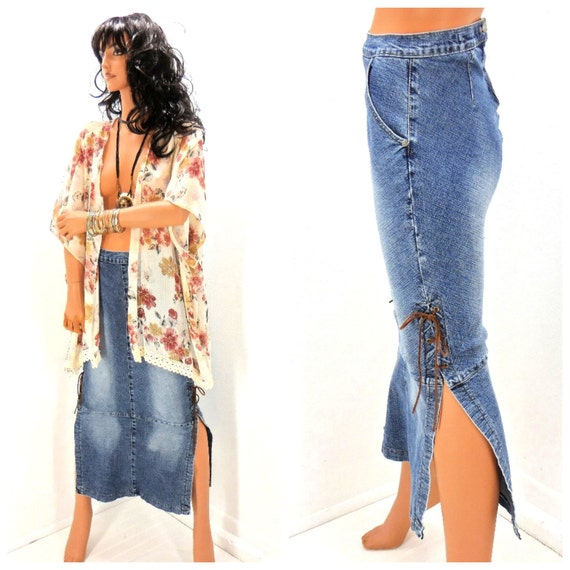 Vintage Long Denim Skirt Size Small 80s Retro Jean Maxi Skirt