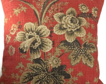 Farmhouse Pillow, Red Brown Floral Throw Pillow Cushion Cover French Country Cottage Decor Waverly Pillow, Decorative Lumbar Accent Pillow