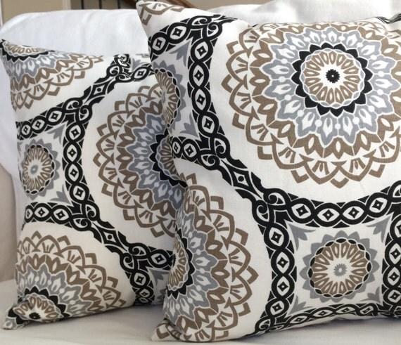 black brown stone gray pillow cushion cover by marolizanadesigns. Black Bedroom Furniture Sets. Home Design Ideas