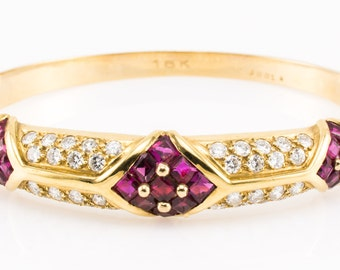 designer cartier vmot  Vintage 18K Cartier Bracelet Authentic Diamond Ruby Bangle Designer