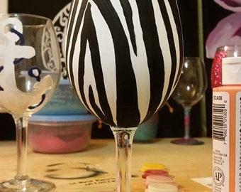 Zebra Wine Glass
