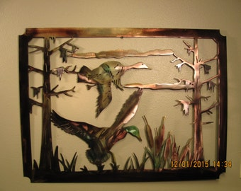 """Duck Scene 30-1/2"""" x 23"""" - Metal Wall Art"""