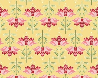 1/2 yd SALE Apple of My Eye Yellow Apple Floral by the Quilted Fish for Riley Blake C2892 Yellow