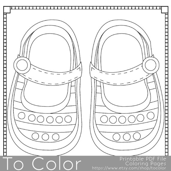 Items Similar To Baby Shoes Printable Coloring Pages For