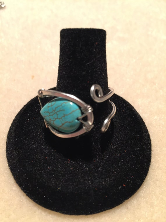 Adjustable Ring. Sterling Silver or Copper with Turquoise Howlite Teardrop Stone. Hand-made quality.