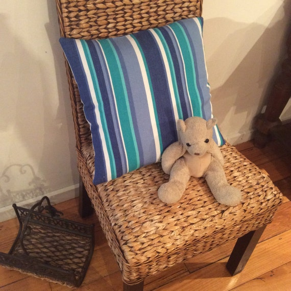 Aqua,Blue,White X-Large 69cm x 69cm Floor Cushion, Striped Quality Hand Made
