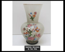 Tall Blown and Cased Glass Vase With Decal Decorations