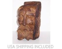 Log Art Sculpture of a Mountain Man Hand Hewn