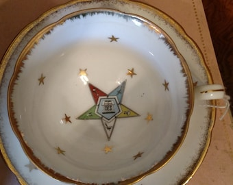 OES tea cup and saucer Lefton china 2337 Eastern Star