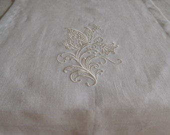 """White Embroidered Linen RUNNER Table Decorations 42cm x180cm (16""""x 71"""") Wedding"""