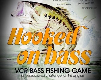 vintage 1990 Hooked on Bass VCR bass fishing game board game with VHS companion