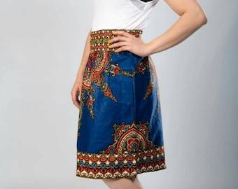 Skirt short wax blue clock